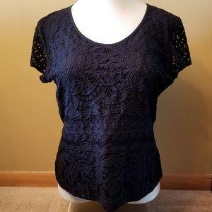 Ann Taylor black lace overlay blouse